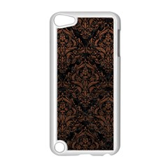 Damask1 Black Marble & Dull Brown Leather (r) Apple Ipod Touch 5 Case (white) by trendistuff