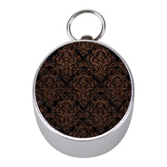 Damask1 Black Marble & Dull Brown Leather (r) Mini Silver Compasses by trendistuff