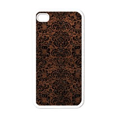 Damask2 Black Marble & Dull Brown Leather Apple Iphone 4 Case (white) by trendistuff