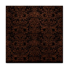 Damask2 Black Marble & Dull Brown Leather (r) Tile Coasters by trendistuff