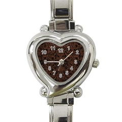 Damask2 Black Marble & Dull Brown Leather (r) Heart Italian Charm Watch by trendistuff
