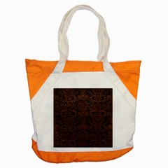 Damask2 Black Marble & Dull Brown Leather (r) Accent Tote Bag by trendistuff
