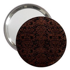 Damask2 Black Marble & Dull Brown Leather (r) 3  Handbag Mirrors by trendistuff