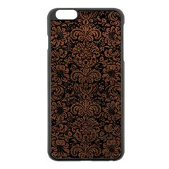 Damask2 Black Marble & Dull Brown Leather (r) Apple Iphone 6 Plus/6s Plus Black Enamel Case by trendistuff