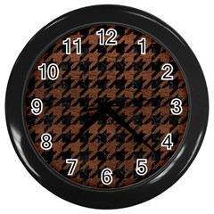 Houndstooth1 Black Marble & Dull Brown Leather Wall Clocks (black) by trendistuff
