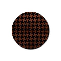 Houndstooth1 Black Marble & Dull Brown Leather Rubber Coaster (round)  by trendistuff