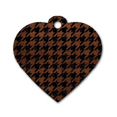 Houndstooth1 Black Marble & Dull Brown Leather Dog Tag Heart (two Sides) by trendistuff