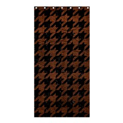 Houndstooth1 Black Marble & Dull Brown Leather Shower Curtain 36  X 72  (stall)  by trendistuff