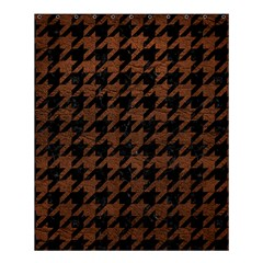 Houndstooth1 Black Marble & Dull Brown Leather Shower Curtain 60  X 72  (medium)  by trendistuff