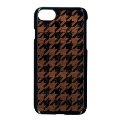 Houndstooth1 Black Marble & Dull Brown Leather Apple Iphone 7 Seamless Case (black) by trendistuff