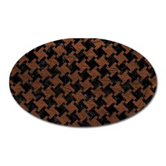Houndstooth2 Black Marble & Dull Brown Leather Oval Magnet by trendistuff