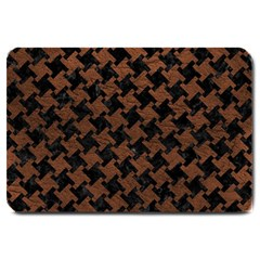 Houndstooth2 Black Marble & Dull Brown Leather Large Doormat  by trendistuff