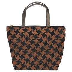 Houndstooth2 Black Marble & Dull Brown Leather Bucket Bags by trendistuff