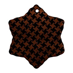Houndstooth2 Black Marble & Dull Brown Leather Snowflake Ornament (two Sides) by trendistuff