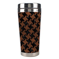 Houndstooth2 Black Marble & Dull Brown Leather Stainless Steel Travel Tumblers by trendistuff