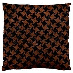 Houndstooth2 Black Marble & Dull Brown Leather Standard Flano Cushion Case (one Side) by trendistuff