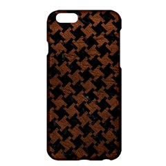 Houndstooth2 Black Marble & Dull Brown Leather Apple Iphone 6 Plus/6s Plus Hardshell Case by trendistuff