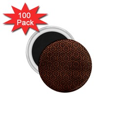 Hexagon1 Black Marble & Dull Brown Leather 1 75  Magnets (100 Pack)  by trendistuff