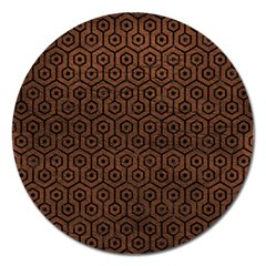Hexagon1 Black Marble & Dull Brown Leather Magnet 5  (round) by trendistuff