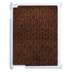 Hexagon1 Black Marble & Dull Brown Leather Apple Ipad 2 Case (white) by trendistuff