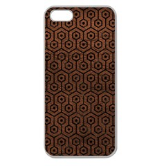 Hexagon1 Black Marble & Dull Brown Leather Apple Seamless Iphone 5 Case (clear) by trendistuff