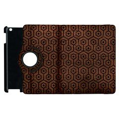 Hexagon1 Black Marble & Dull Brown Leather Apple Ipad 2 Flip 360 Case by trendistuff