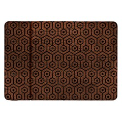 Hexagon1 Black Marble & Dull Brown Leather Samsung Galaxy Tab 8 9  P7300 Flip Case by trendistuff