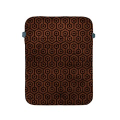Hexagon1 Black Marble & Dull Brown Leather Apple Ipad 2/3/4 Protective Soft Cases by trendistuff
