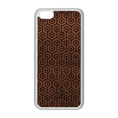 Hexagon1 Black Marble & Dull Brown Leather Apple Iphone 5c Seamless Case (white)