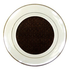 Hexagon1 Black Marble & Dull Brown Leather (r) Porcelain Plates by trendistuff