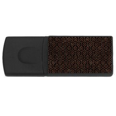 Hexagon1 Black Marble & Dull Brown Leather (r) Rectangular Usb Flash Drive by trendistuff