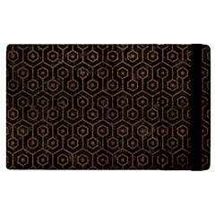 Hexagon1 Black Marble & Dull Brown Leather (r) Apple Ipad 2 Flip Case by trendistuff