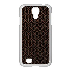 Hexagon1 Black Marble & Dull Brown Leather (r) Samsung Galaxy S4 I9500/ I9505 Case (white) by trendistuff
