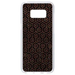Hexagon1 Black Marble & Dull Brown Leather (r) Samsung Galaxy S8 White Seamless Case by trendistuff