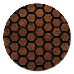 Hexagon2 Black Marble & Dull Brown Leather Magnet 5  (round) by trendistuff