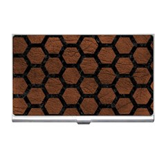 Hexagon2 Black Marble & Dull Brown Leather Business Card Holders by trendistuff