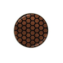 Hexagon2 Black Marble & Dull Brown Leather Hat Clip Ball Marker (4 Pack) by trendistuff