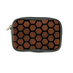 Hexagon2 Black Marble & Dull Brown Leather Coin Purse by trendistuff