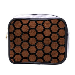 Hexagon2 Black Marble & Dull Brown Leather Mini Toiletries Bags by trendistuff