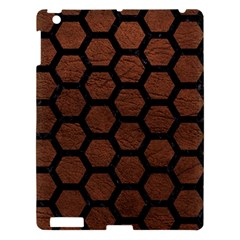Hexagon2 Black Marble & Dull Brown Leather Apple Ipad 3/4 Hardshell Case by trendistuff