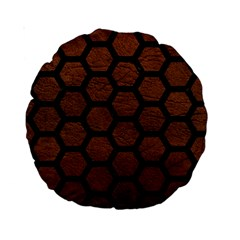 Hexagon2 Black Marble & Dull Brown Leather Standard 15  Premium Round Cushions by trendistuff