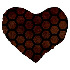 Hexagon2 Black Marble & Dull Brown Leather Large 19  Premium Heart Shape Cushions by trendistuff