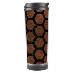Hexagon2 Black Marble & Dull Brown Leather Travel Tumbler by trendistuff