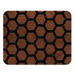 Hexagon2 Black Marble & Dull Brown Leather Double Sided Flano Blanket (large)  by trendistuff