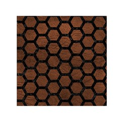 Hexagon2 Black Marble & Dull Brown Leather Small Satin Scarf (square) by trendistuff