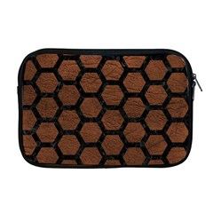 Hexagon2 Black Marble & Dull Brown Leather Apple Macbook Pro 17  Zipper Case