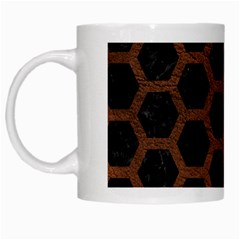 Hexagon2 Black Marble & Dull Brown Leather (r) White Mugs by trendistuff