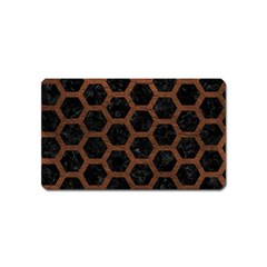 Hexagon2 Black Marble & Dull Brown Leather (r) Magnet (name Card) by trendistuff