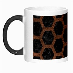 Hexagon2 Black Marble & Dull Brown Leather (r) Morph Mugs by trendistuff