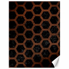 Hexagon2 Black Marble & Dull Brown Leather (r) Canvas 12  X 16   by trendistuff